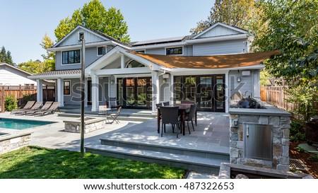 Custom Home Build, Menlo Park, California, Pool, Patio, Grass, Back Yard, Hot tub  #487322653
