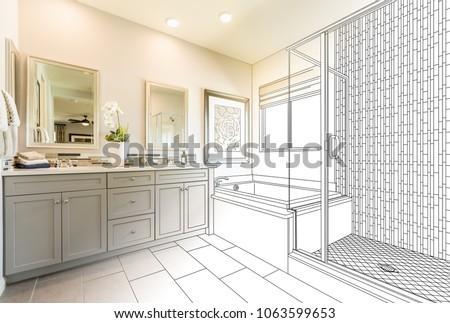 Custom Master Bathroom Design Drawing Gradating to Finished Photo. Foto d'archivio ©