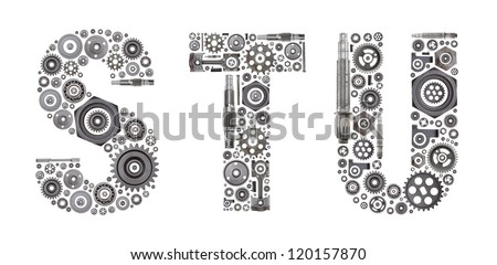 Custom metal block letters made out of nuts, bolts, gears and other car parts.
