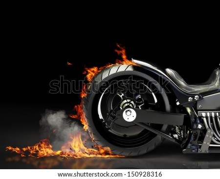 Custom motorcycle burnout on a black background Room for text or copy space