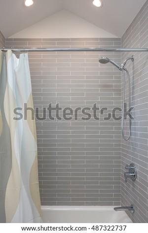 Custom Shower, tile, bathroom, relax #487322737