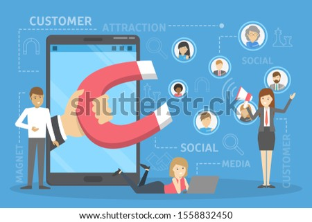 Customer attraction concept. Hand with magnet attract people. Marketing strategy and advertisement.  illustration in cartoon style