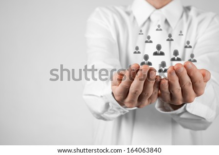 Customer care, care for employees, labor union, CRM, and life insurance concepts. Protecting gesture of businessman or personnel with icons representing group of people.