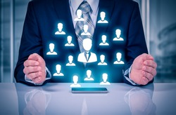 Customer care, insurance, care for employees, human resources, employment agency and marketing segmentation concepts. Leader manage his team