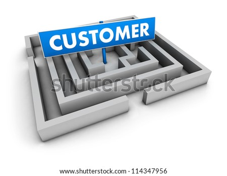 Customer concept with labyrinth and blue goal sign on white background.