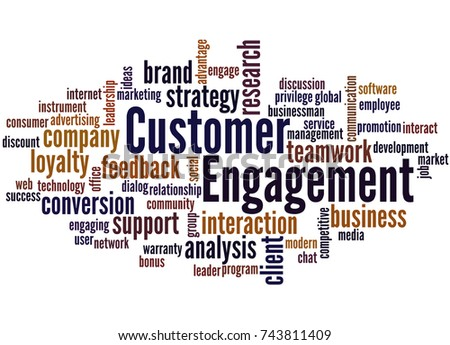 Customer engagement, word cloud concept on white background.