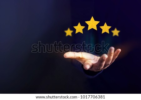 Customer Experience Concept, Best Excellent Services for Satisfaction present by Opened Hand of Client giving a Five Star Rating