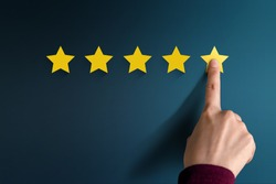 Customer Experience Concept, Best Excellent Services Rating for Satisfaction present by Hand of Client pressing Five Star