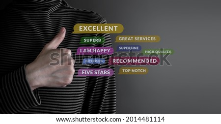 Customer Experience Concept. Happy Client Giving Excellent Services Rating for Satisfaction by Thumb Up. Symbol of Best Experiences in Products and Services