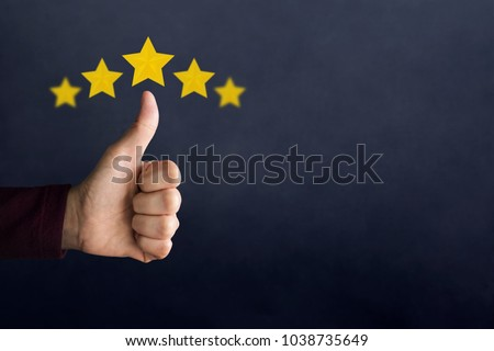 "Customer Experience Concept. Happy Client show Thumb Up in meaning ""Great"" with Five Star Rating. Best Excellent Services for Satisfaction"