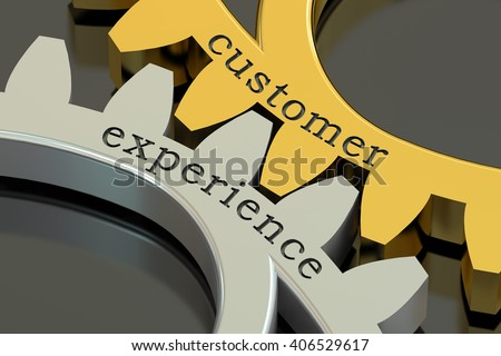 Customer Experience concept on the gearwheels, 3D rendering