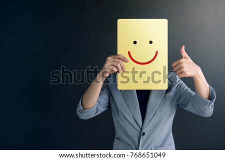 "Customer Experience Concept, Portrait of Client Woman with Thumb Up in meaning ""Great"" , Happy Face Drawn Emotion on Paper"