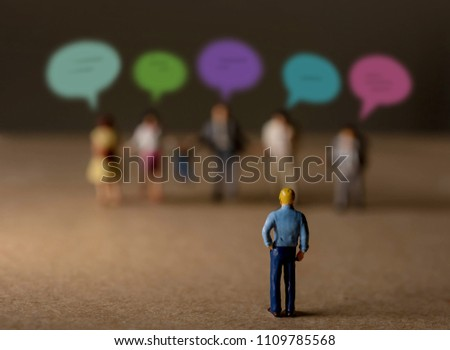 Customer Experience Concept. present by Miniature Figure of Businessman Listening Feedback from Diversity Clients