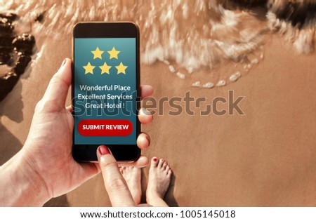 Customer Experience Concept, Woman using Smart Phone on Summer Beach to Review and Feedback Five Star Rating for Hotel in Online Satisfaction Survey, Top View