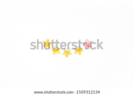 Customer Experience Feedback Smile Concept. Golden five 5 stars, best excellent services rating for satisfaction isolated on white background. Top view, copy space for your text