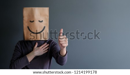 Customer Experience or Human Emotional Concept. Woman Covered her Face by Paper Bag and present Happy Feeling by Drawn Line Cartoon and Body Language #1214199178