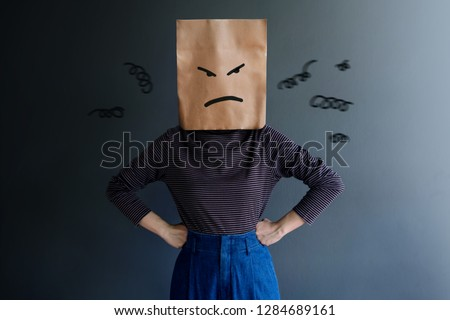 Customer Experience or Human Emotional Concept. Woman Covered her Face by Paper Bag and present Angry Feeling by Drawn Line Cartoon and Body Language #1284689161