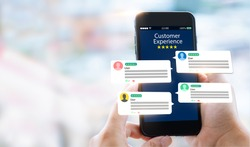 customer experience,review concept.Hands holding mobile phone