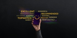 Customer Experiences Concept. person Raised Up a Mobile Phone with Smiling Face Emoticon. Surrounded by Wordings of Positive Review Feedback. Client Satisfaction Surveys