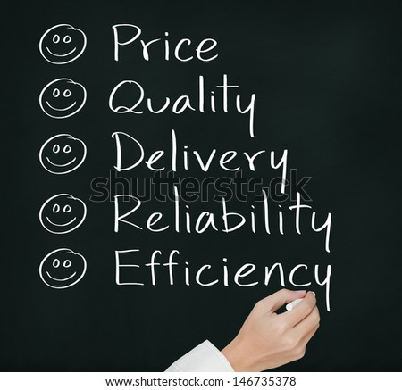 customer hand writing  happy on  price quality delivery reliability and efficiency