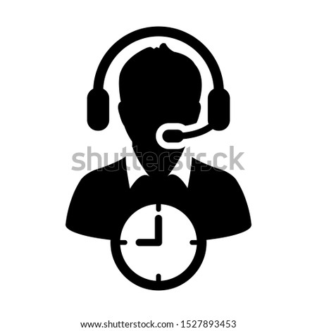 Customer helpline icon with clock symbol and male support business service person profile avatar with headphone for online assistant in glyph pictogram illustration