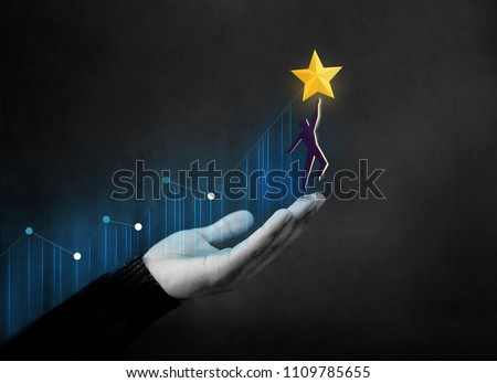 Customer Journey or Business Success Concept. Hand Raised and Support Human Shape with Care to Reach a Golden Star, Diagram Graph as background #1109785655