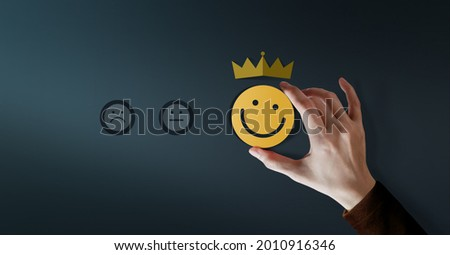 Customer Loyalty Concept. Client Experiences. Happy Customer giving Positive Services Rating for Satisfaction present by Smiling Face and Crown