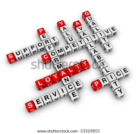 Customer Loyalty (cubes crossword series) - stock photo
