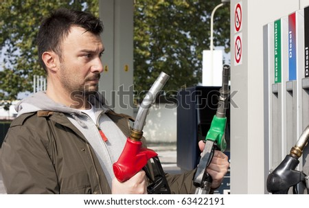 Customer Refilling Car at Gas Station