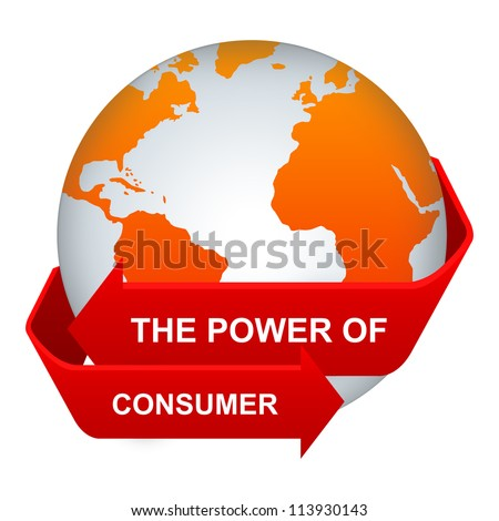 Customer Relationship Management Or CRM Concept Present By The Red Power of Consumer Arrow Around The Orange Globe Isolate on White Background - stock photo