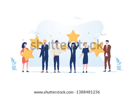 Customer review rating. Different People give review rating and feedback. Flat illustration. Customer choice. Know your client concept. Rank rating stars feedback. Business satisfaction support