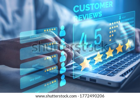Customer review satisfaction feedback survey concept. User give rating to service experience on online application. Customer can evaluate quality of service leading to reputation ranking of business. ストックフォト ©