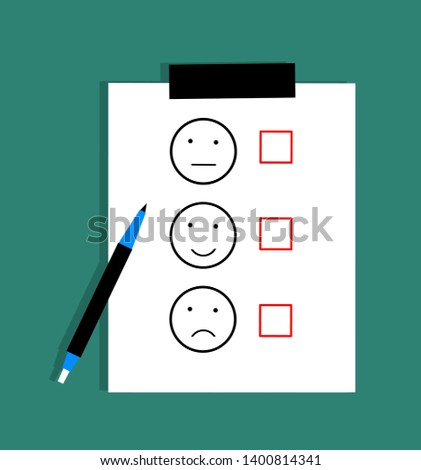 customer satisfaction assessment with white sheet and pen