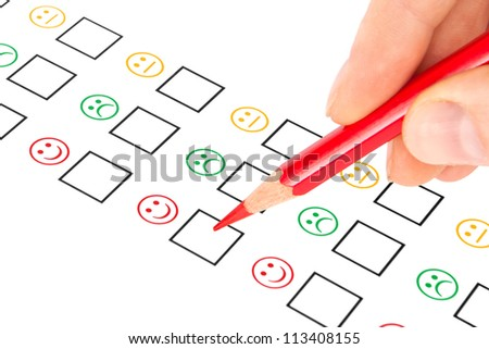 customer satisfaction questionnaire showing marketing or business concept - stock photo