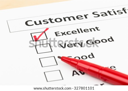 Customer satisfaction survey checkbox with excellent tick #327801101