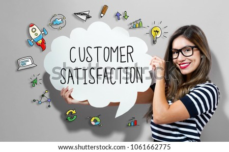 Customer Satisfaction text with young woman holding a speech bubble #1061662775