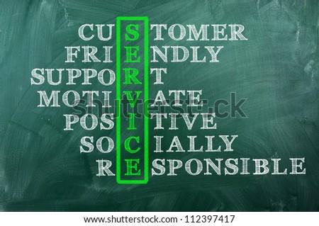 customer service concept on blackboard-customer friendly support ,socially responsible