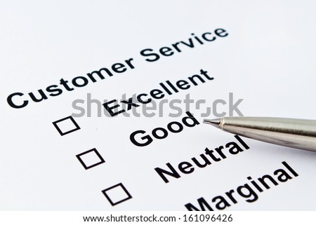 customer service evaluation with pen isolated over white background - stock photo