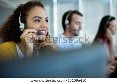 Customer service executive working at office