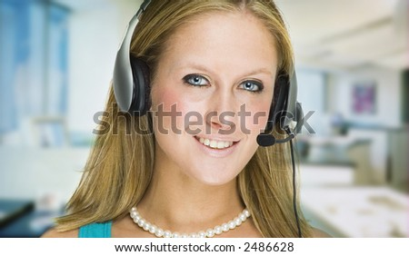 Customer Service Girl Greeting Customers Through Her Headset Stock ...
