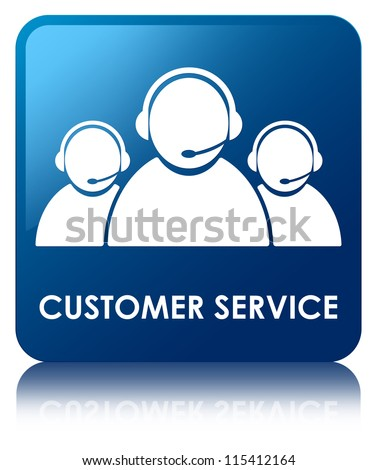 Customer service glossy blue reflected square button