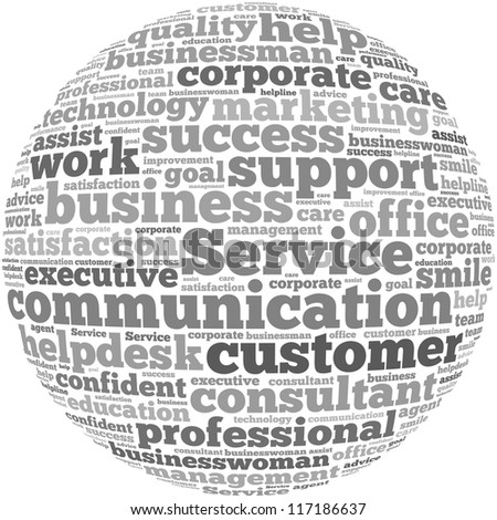 Customer Service info-text graphics and arrangement concept on white background (word cloud)