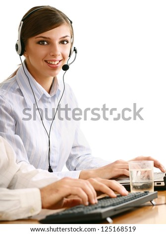 Customer service operator isolated on white background