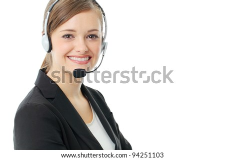 Customer service operator woman with headset, isolated on white background.