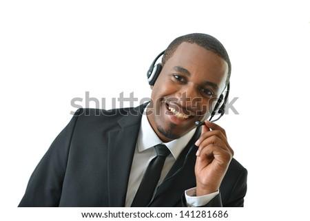 Customer service representative holding microphone
