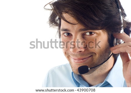 Customer service representative man smiling isolated over a white background