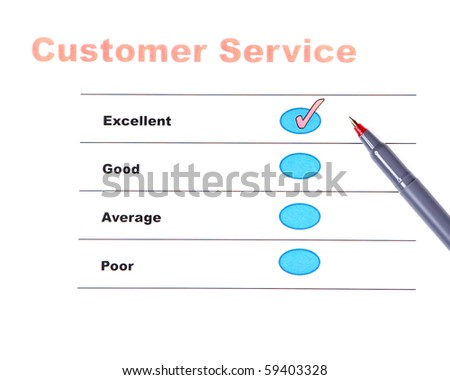 "Customer service survey with ""EXCELLENT"" score"