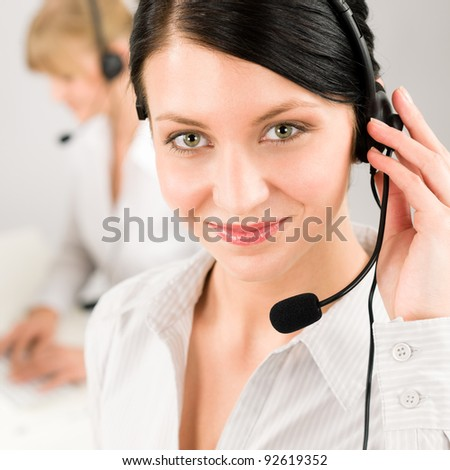 Customer service team woman call center smiling operator phone headset
