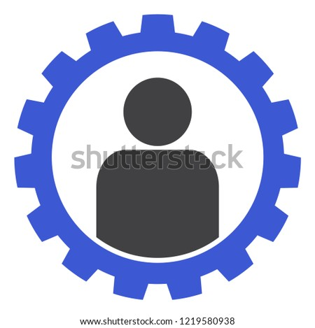 Customer setup gear icon on a white background. Isolated customer setup gear symbol with flat style.
