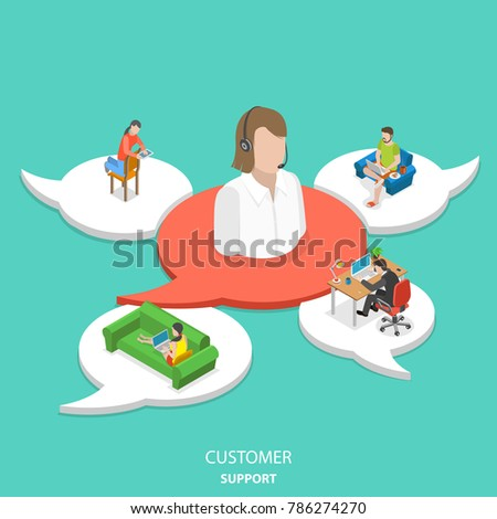 Customer support flat isometric  concept. Big icon of the customer assistant on the red speech bubble and 4 white ones with customers around assistant.